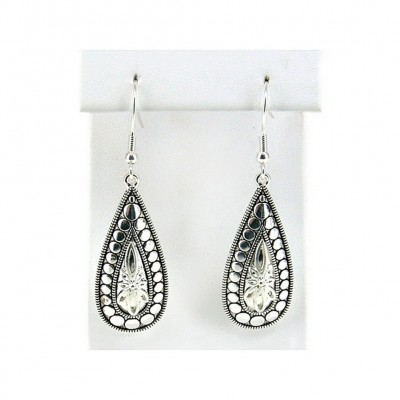 12-pair Western Style Texture Tear Drop Earrings - ER-OE0392AS