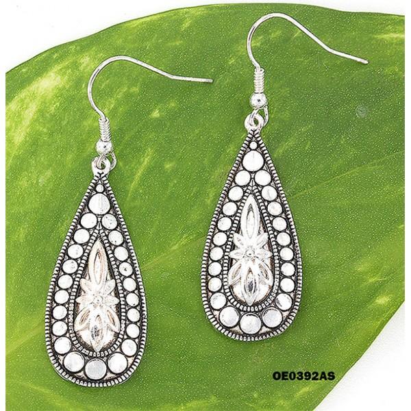 12-pair Western Style Texture Tear Drop Earrings - ER-OE0392AS