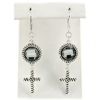 Dangling Cross Charms Earrings Antique Silver Look - ER-OE0451AS