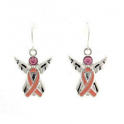 Ear Rings - Angel with Pink Ribbon - Pink