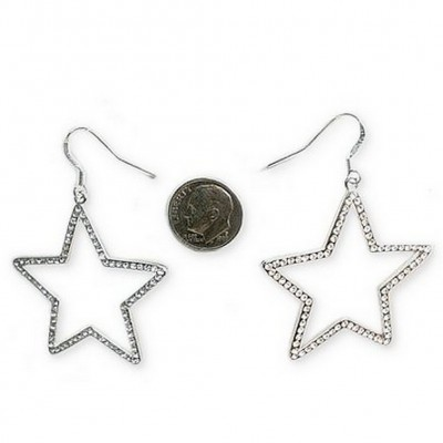 Rhodium Plated Rhinestone Dangling Star Earrings - ER-SE1018