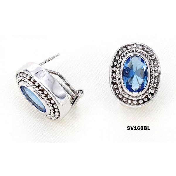 Casting Silver Earrings w/ CZ - Blue - ER-SV160BL