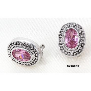 Casting Silver Earrings w/ CZ - Pink  -  ER-SV160PK