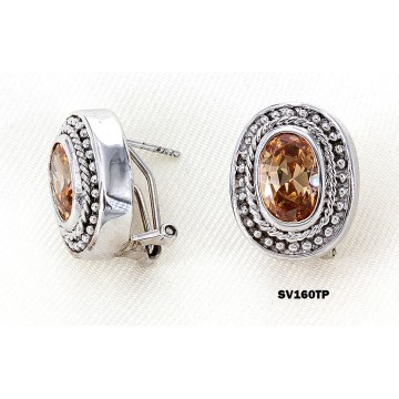 Casting Silver Earrings w/ CZ - Taupez - ER-SV160TP