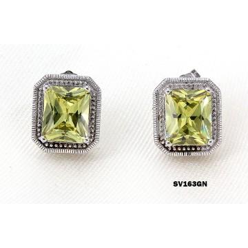 Casting Silver Earrings w/ CZ - Green - ER-SV163GN