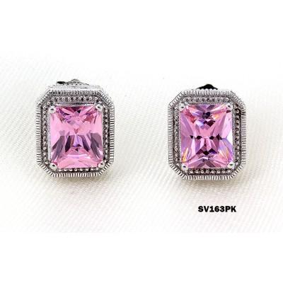 925 Sterling Silver Earrings w/ CZ - Pink - ER-SV163PK