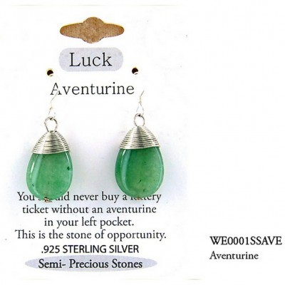 "Semi Precious Stone Earrings - Aventurine -"" LUCK "" - ER-WE0001SS-AVE"