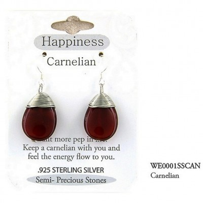 "Semi Precious Stone Earrings - Carnelian - "" HAPPINESS "" - ER-WE0001SS-CAN"