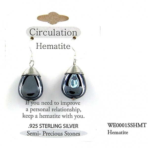 "Semi Precious Stone Earrings - Hematite- "" CIRCULATION ""  "" - ER-WE0001SS-HMT"
