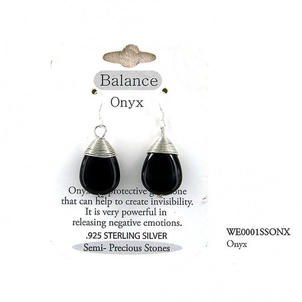 "Semi Precious Stone Earrings - Onyx- "" BALANCE "" - ER-WE0001SS-ONX"