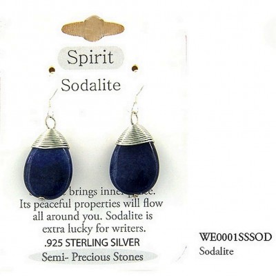 "Semi Precious Stone Earrings - Sodalite- ""SPIRIT "" - ER-WE0001SS-SOD"