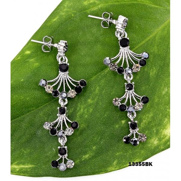 Crystal Earrings  - Black - ER-13355BK