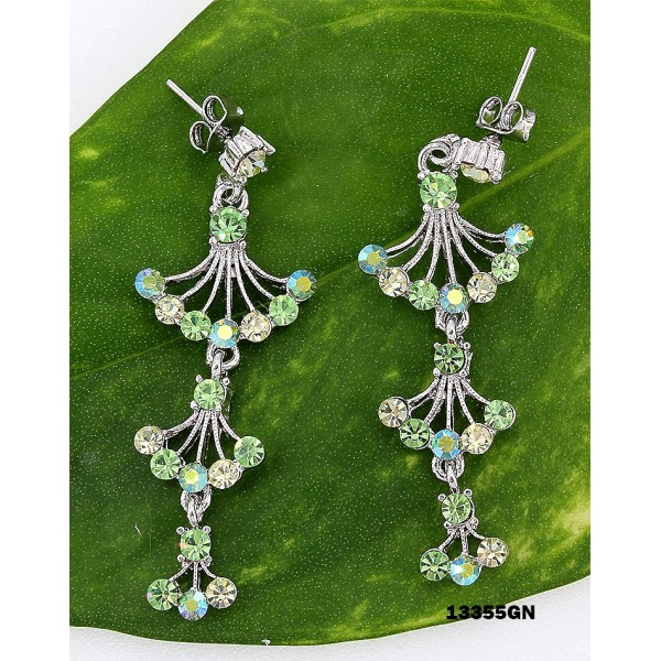 Crystal Earrings  - Green - ER-13355GN
