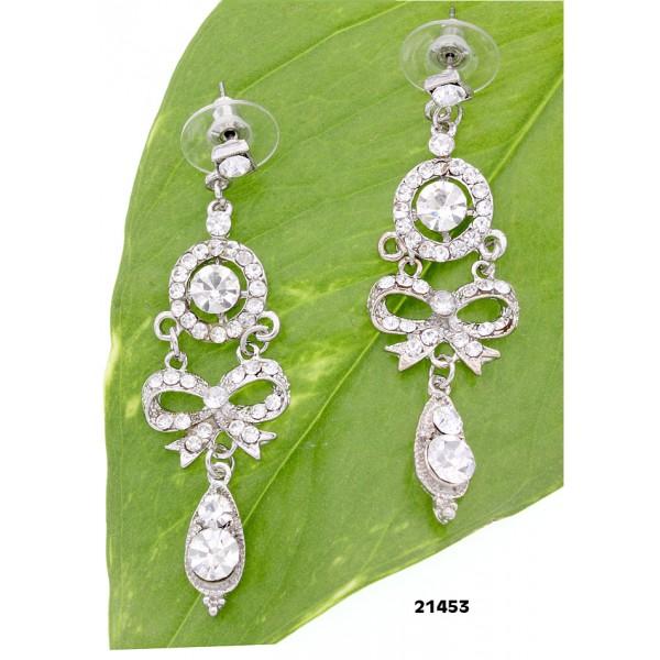 Dangling Rhinestones Ribbon Earrings - Clear - ER-21453