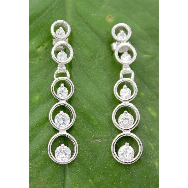 Earrings - 925 Sterling Silver w/ CZ - Journey Collection - ER-PER86531CL