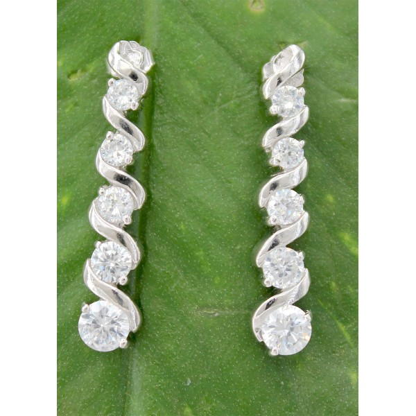 Earrings - 925 Sterling Silver w/ CZ - Journey Collection - ER-PER8665CL
