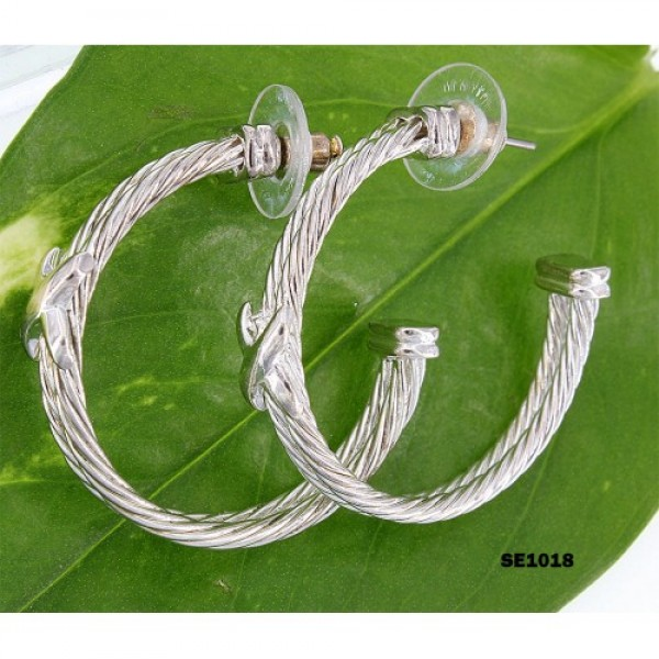 Double Cable Line Designer Earrings - ER-SE1033SV