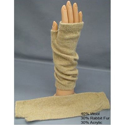 Gloves - Fingerless Wool /Rabbit Fur Opera Glove - Camel Color - GL-1002CM