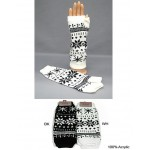 Gloves - Fingerless Snow Flack Print Glove - GL-1007