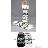 Gloves - Fingerless Snow Flack Print Glove - GL-1007