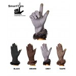 Glove - SmartTips Glove - Solid Fabric w/ Rabbit Fur Trim -GL-108