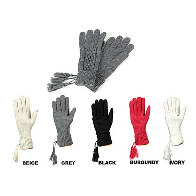 Glove - Knitted Gloves with Tassel