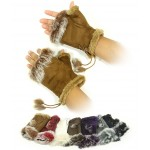 Gloves - Fingerless Suede-Like w/ Fur Trim - GL-G2104