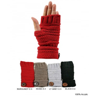 Gloves - Knitted Fingerless Rollup Cuff  W/ Button - GL-G2115