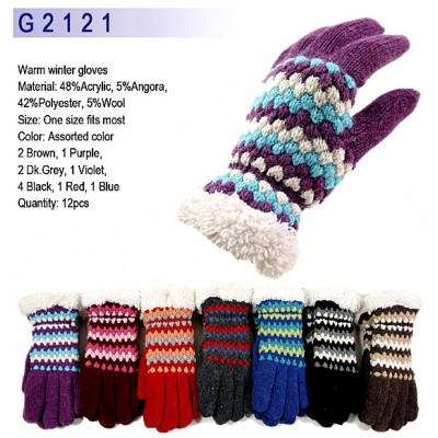 Gloves - Knitted w / Fur-Like Trim - GL-G2121