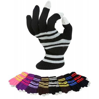 12-pair Assortment Gloves - Striped Knitted Smart Tips Gloves - GL-G212A