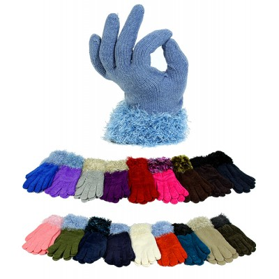 Gloves - 12-pair Solid Color Knitted w/ Fur-Like Trim Cuff Gloves - GL-G2140