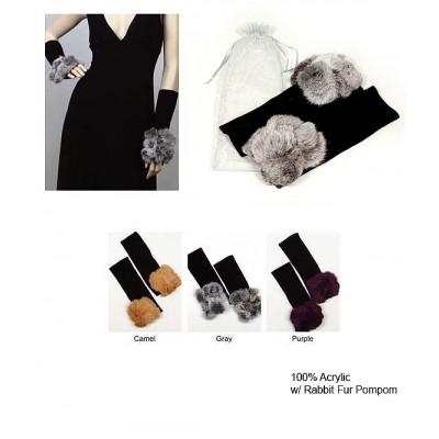 Gloves - Hand Warmer w/ Rabbit Fur  PomPoms - GL-KMCG