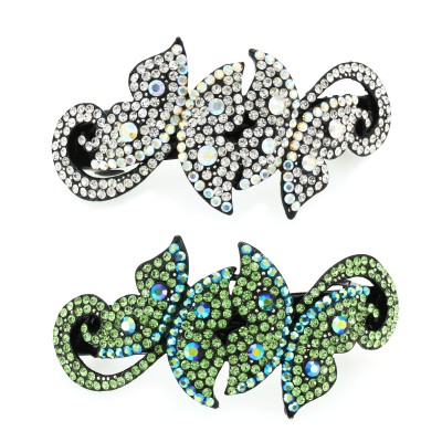 Dual Butterfly Crystal Hair Barrette - HC-0791