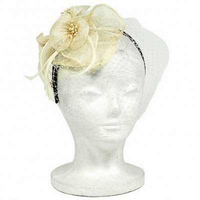 Fascinator Headbands - Sinamay w/ Feather - Ivory - HB-F09085IV