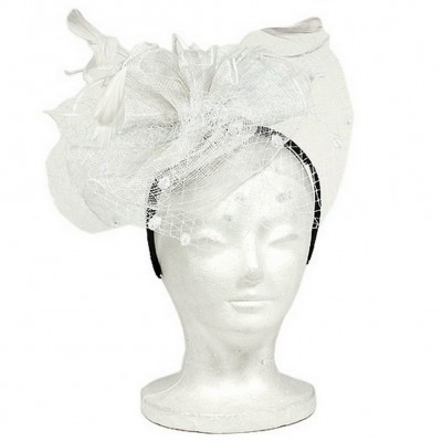 Fascinator Headbands - Sinamay w/ Feather + Dots - White - HB-S10-1687WT