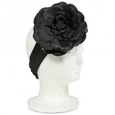 Satin Headbands w/ Large Silk Flower - Black - HB-S10-1713BK
