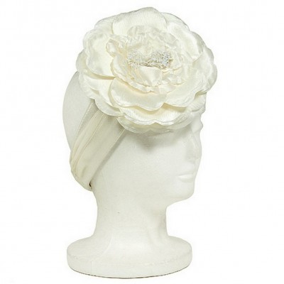 Satin Headbands w/ Large Silk Flower - Ivory - HB-S10-1713IV