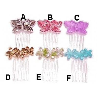 Plastic Butterfly & Flower Combs - BF-C12