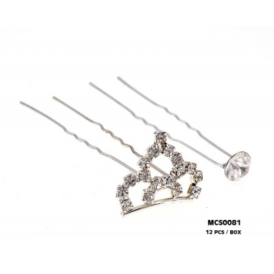 Hair Stick - Jeweled Crown & a Solitary Crystal - CS-MCS0081