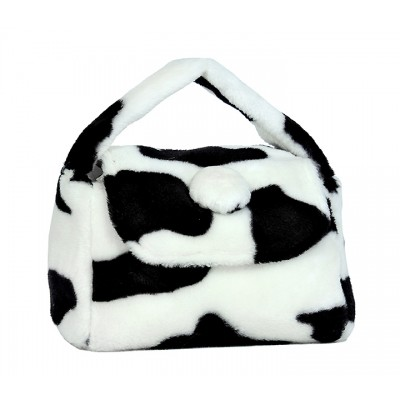 Cow Print Small Plush Handbag w/ Flap - BG-12C