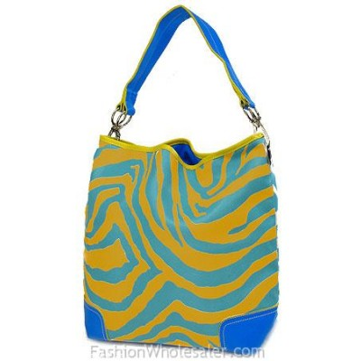 Animal Zebra Print Hobo - Yellow w/ TQ Blue Stripes -BG-Z1004YL-TQ
