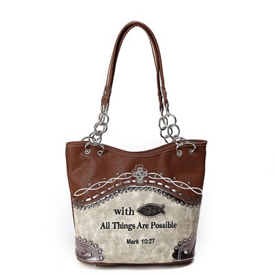 Bible Verse Western Style Bucket Bag - Tan - BG-CSB4-5166RB-TN