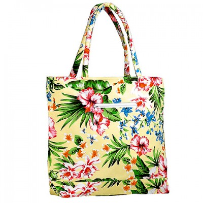 Canvas Tote w/ Tropical Flower Print - Yellow - BG-1509YL