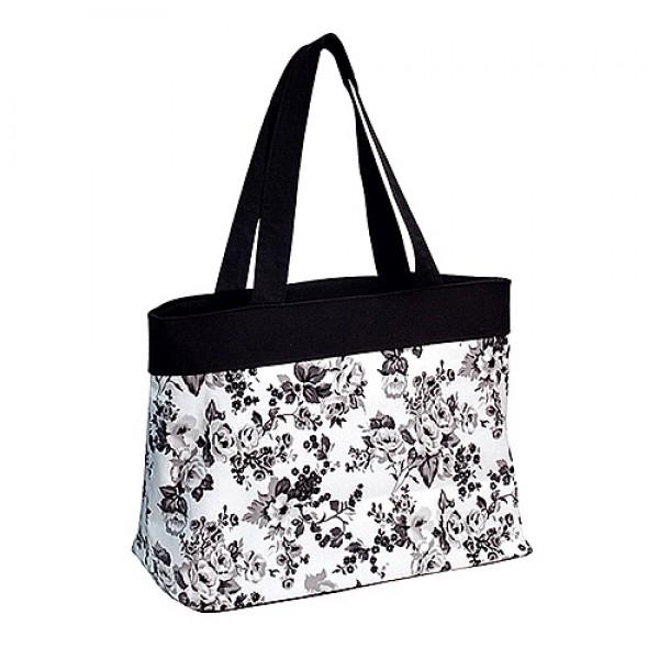 Canvas Shopping Tote w/ Flower Print - Black - BG-1518BK