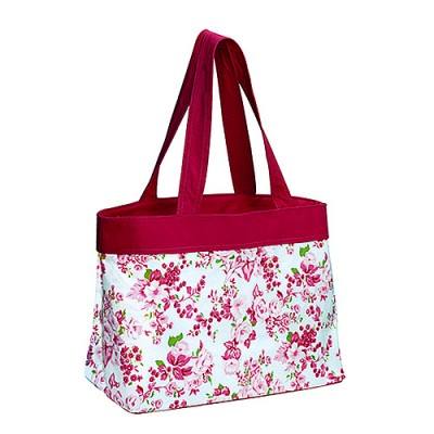 Canvas Shopping Tote w/ Flower Print - Fuchsia - BG-1518FU