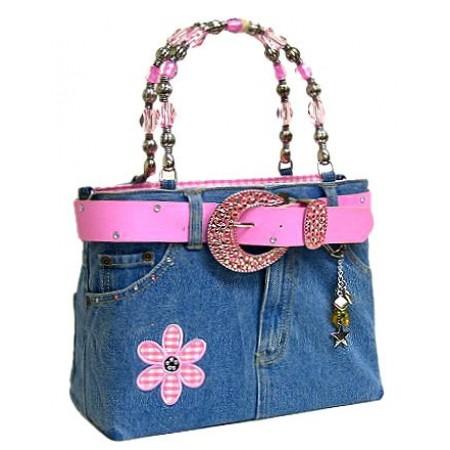 Denim Jean Purse w/ Belt & Key Chain/Flower - Pink - BG-ABJ13MPK