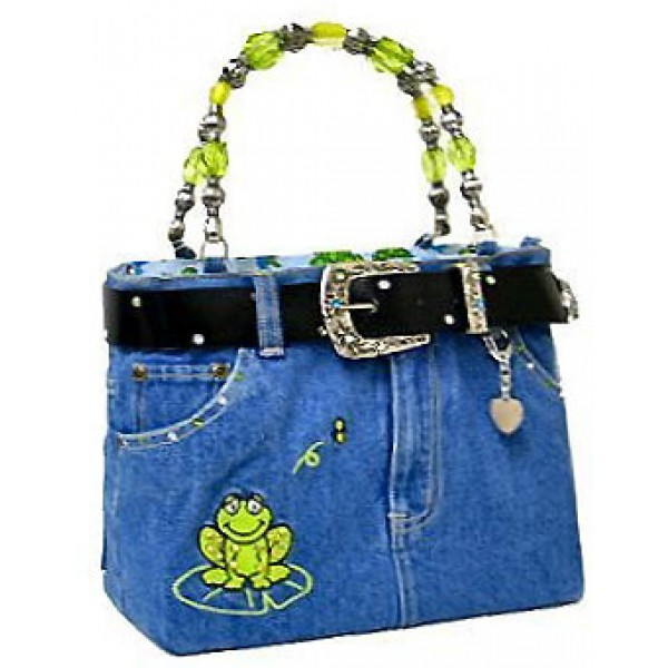 Denim Jean Purse w/ Belt & Key Chain/Frog - BG-ABJ14M