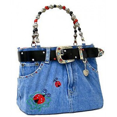 Denim Jean Purse w/ Belt & Key Chain/Lady Bug - BG-ABJ15M