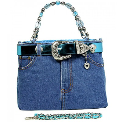 Denim Jean Purse w/ Belt Buckle - BG-BJ119MTQ