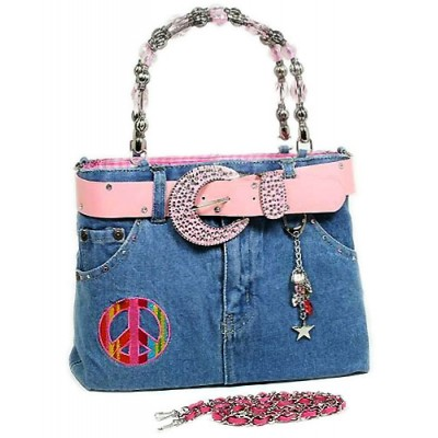Denim Jean Purse w/ Patched Color Peace Sign - BG-BJ139M